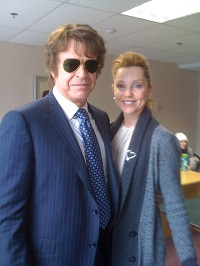 A photo of Sarah-Jane Redmond with John Noble (Walter) taken on the set of Fringe.