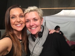 Taking time out for a photo on the set of Siren, actor Sarah-Jane Redmond with director Amanda Tapping!